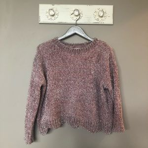 Altar'd State | Light Pink & Silver Tinsel Sweater